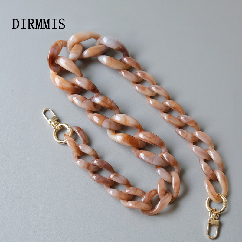 New Fashion Woman Handbag Accessory Chain Detachable Replacement White Beige Blue Grey Strap Women Shoulder DIY Resin Bag Chain