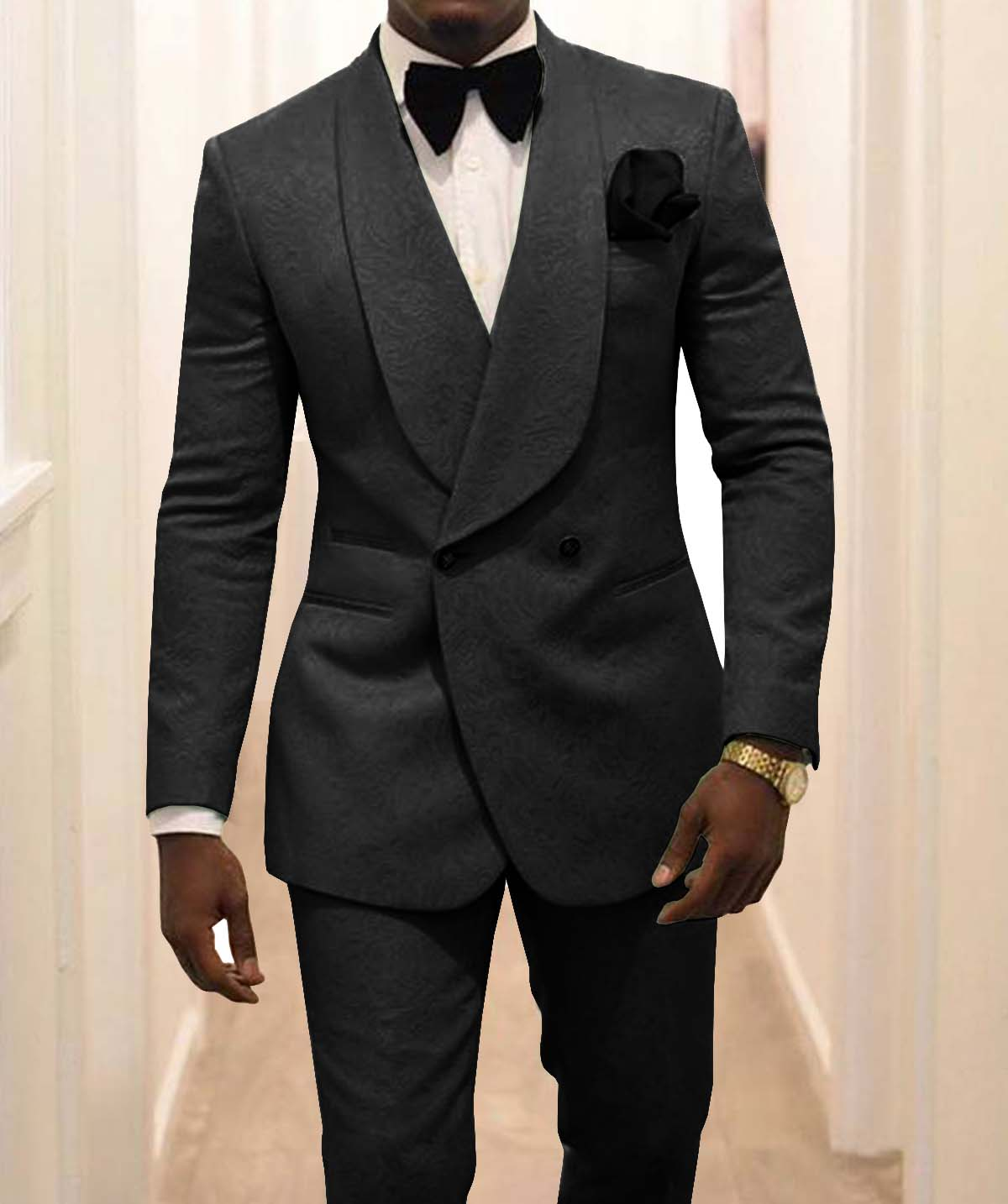 New Arrival Groomsmen Black Pattern Groom Tuxedos Shawl Lapel Men Suits 2 Pieces Wedding Best Man ( Jacket+Pants+Tie ) C926