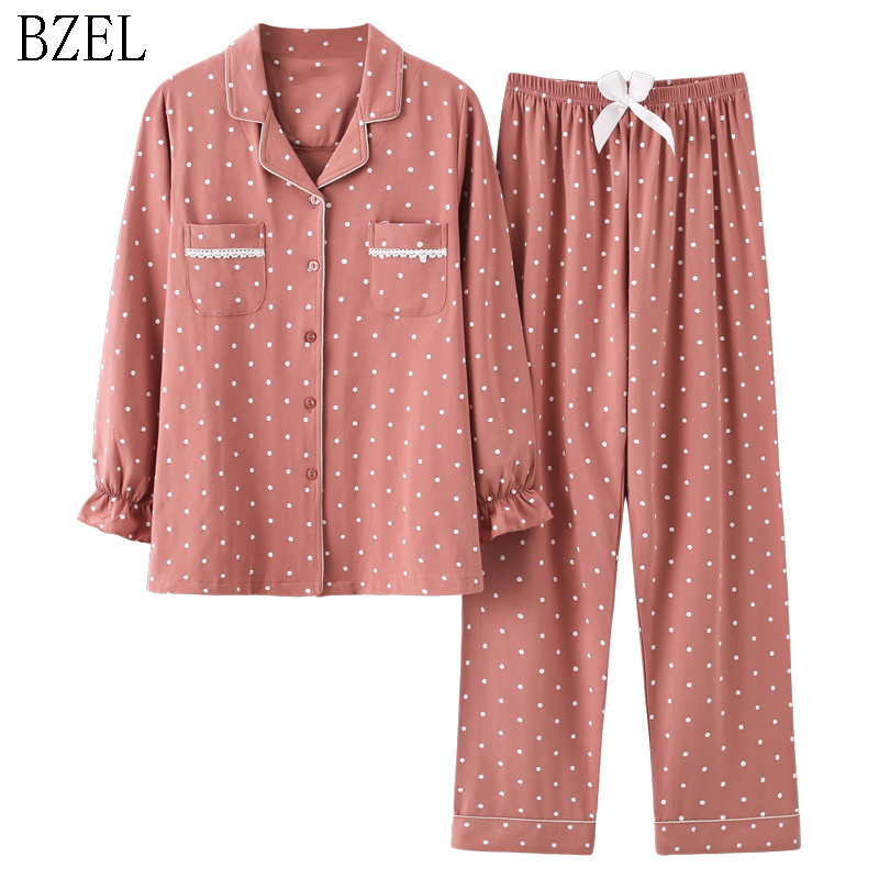 BZEL New Fashion Sleepwear Women's Cotton Cute Pajamas Girls Long Sleeve Tops+Pants With Pockets Polka Dot Casual Lounge Wear
