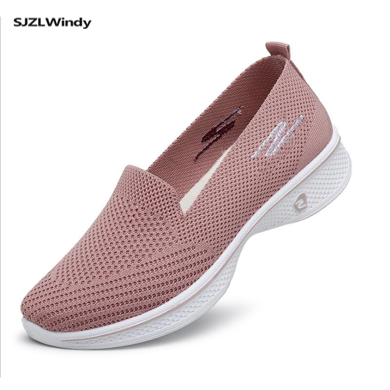 Women's Shoes Sneakers Flat Knitting Autumn  2019 New Female Mesh Vulcanized Ladies Slip On Breathable Casual Driving Shoes