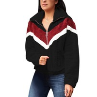Женский Теплый свитер осень-зима пэчворк Высокий воротник длинный рукав молния повседневные свободные топы
