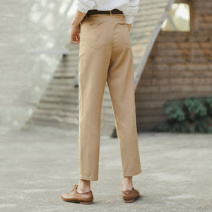 Image 2 - INMAN 2020 Spring New Arrival Literary Retro High Wasit Front Pocket Loose Slimming Ankle length Trousers