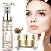 SOMILD 24K Gold Face Cream Snail Essence Anti Aging Wrinkle Removal Facial Lotion Whitening Moisturizing Korean Skin Care Set 1
