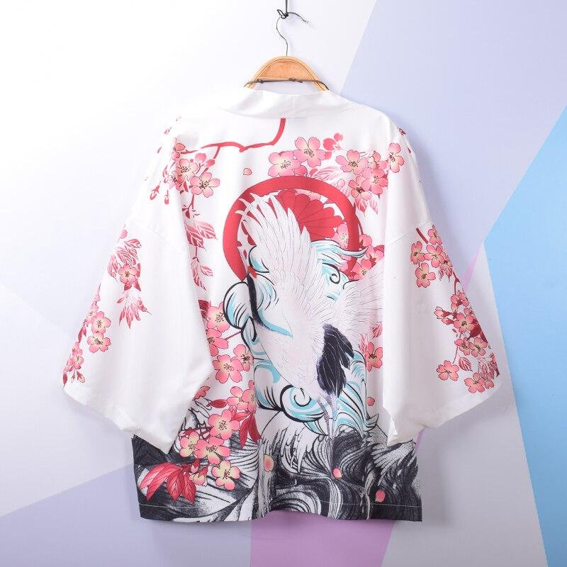 2019 japanese kimono cardigan men haori yukata male samurai costume clothing kimono mens kimono shirt yukata haori crane print