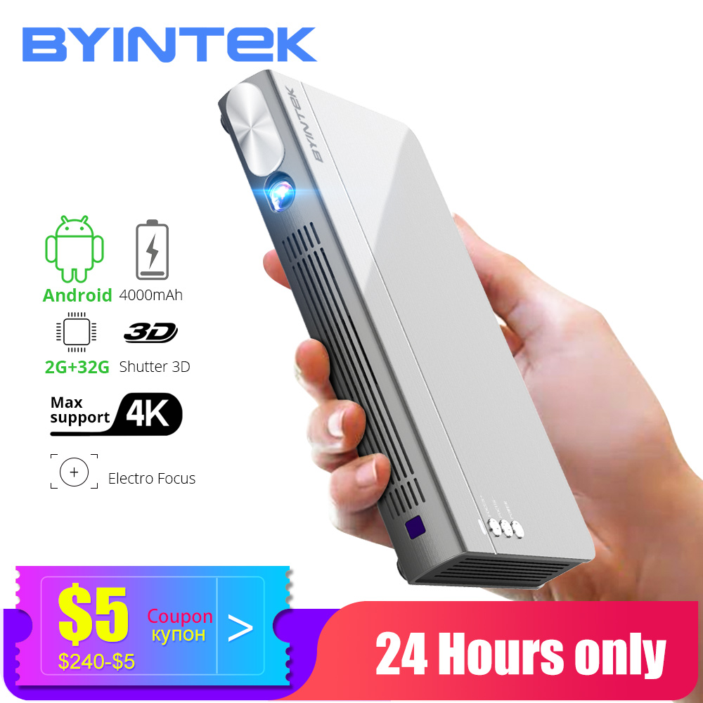 BYINTEK Mini 3D Projector P12,Android 6.0,Smart Wifi Pocket Portable Video Beamer, LED DLP lAsEr Mobile Projector For Smartphone(China)