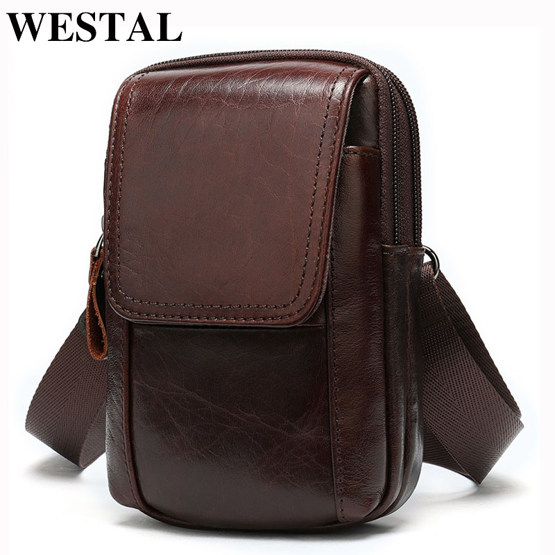 WESTAL Men Waist Bags Male Fanny Pack Men's Bag Genuine Leather Small Money/Phone Bag Belt Men Leather Waist Pack Man Pouch 8955