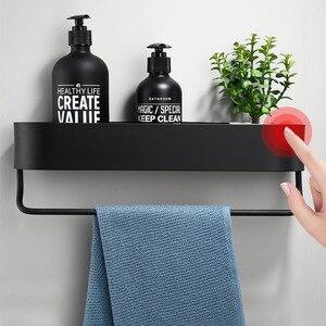 Image 2 - Étagère de salle de bain noire, étagères murales de 30 à 50cm de long pour cuisine, panier de rangement, barre à serviettes, crochets de Robe, accessoires de salle de bain