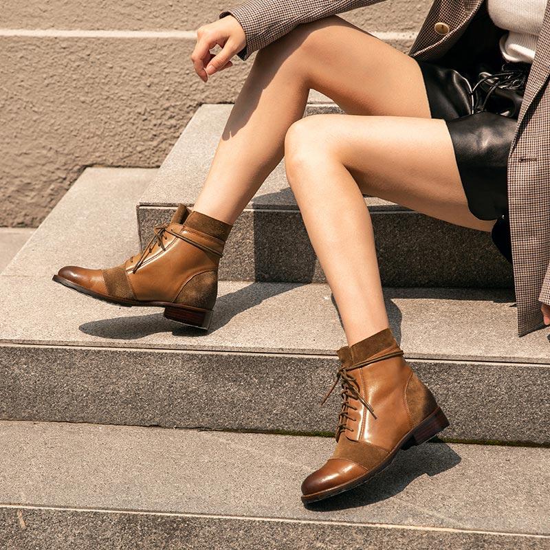 BeauToday Emenda Projeto Outono Inverno Ankle Boots Mulheres Genuíno Couro De Vaca Botas de Camurça da Vaca Da Forma Da Senhora Handmade 03636 - 5