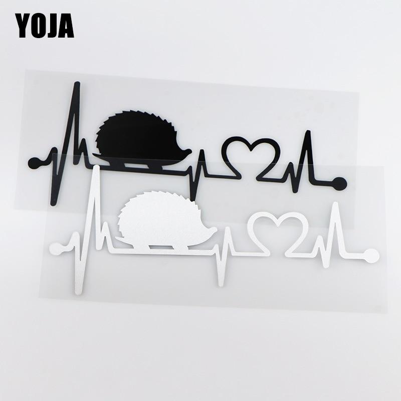 YOJA 18.2X7.7CM ECG Hedgehog Creative Cartoon Car Stickers Rear Windshield Decals ZT4-0008