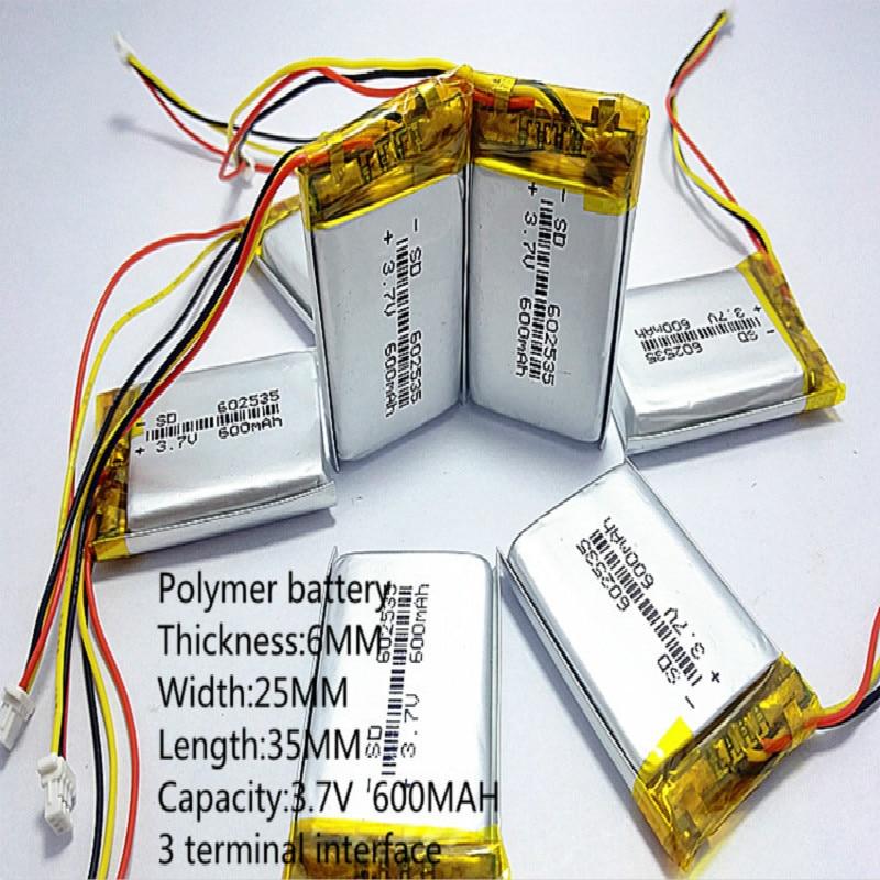 3.7V 600mAh akumulator litowo polimerowy akumulator litowo-jonowy do słuchawki tachografu MODEL 582535 SP5 mp3 mp4 GPS 602535 062535