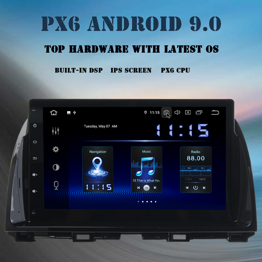 Android 9.0 Car multimedia player <font><b>GPS</b></font> Navi For <font><b>Mazda</b></font> CX-<font><b>5</b></font> CX5 2013 2014 2015 radio 2 din PX6 DSP HDMI 4Gb+64Gb 10.2