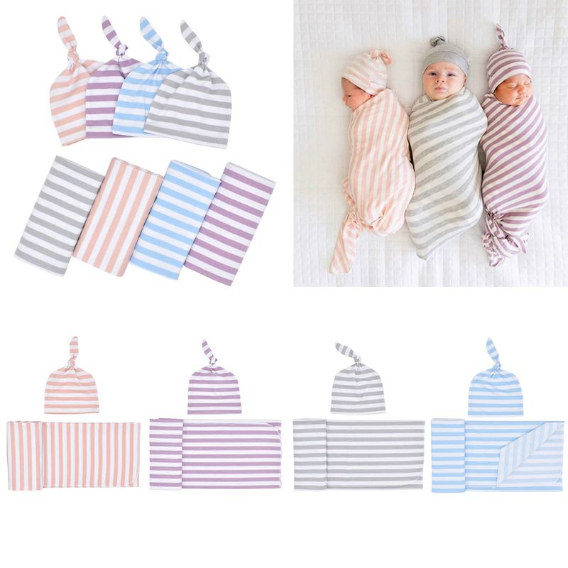 Newborn Rayon Cotton Swaddle Sack With Baby Hat Set Stripes Printed Receiving Blanket Wrap Top Knot Stretch Cap Photography Prop