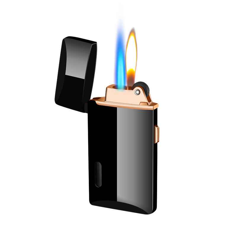 Two Flames Turbo Gas Lighter Lighters Smoking Accessories Gadgets for Men Creative Electronic Lighters