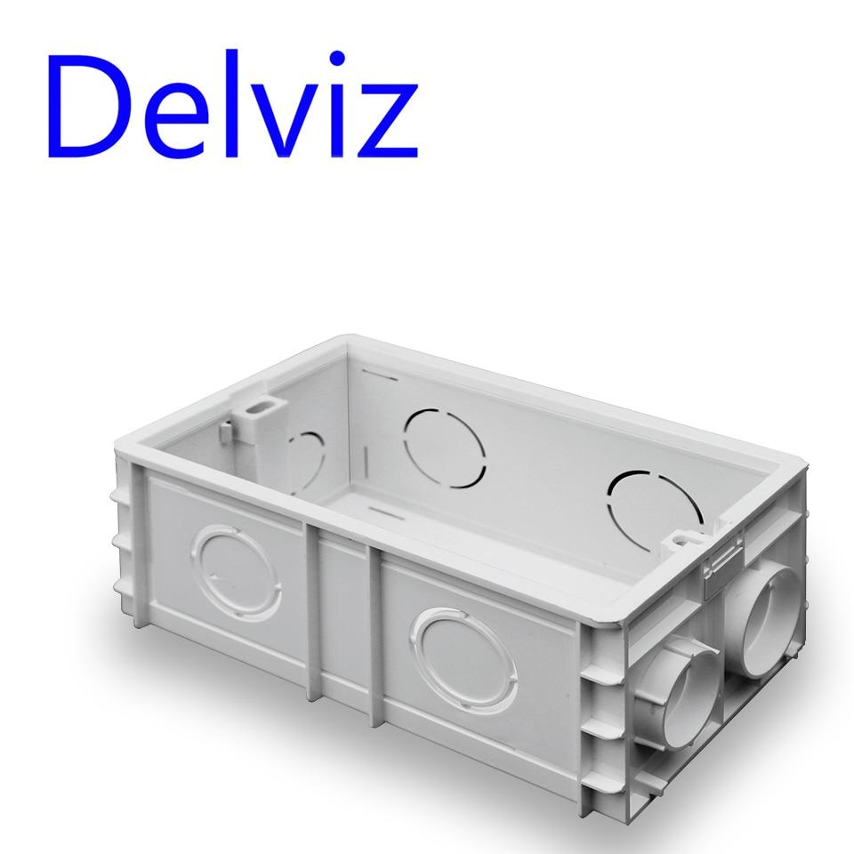 Delviz Wall Switch BOX Wall Socket Cassette,146mm Plastic Materials, For Wall Light Switch EU Standard Internal Mount socket box