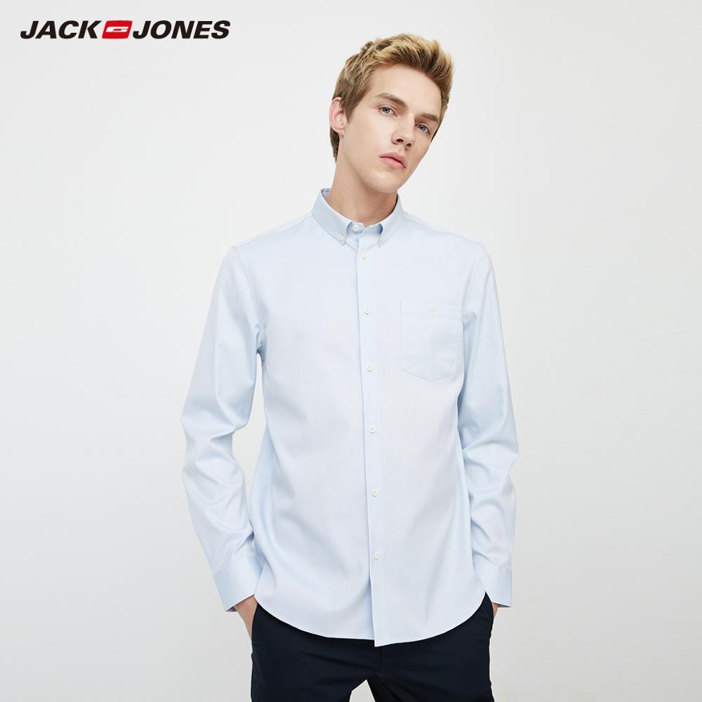JackJones Men's Basic 100% Cotton Embroidered Long-sleeved Shirt| 220105525