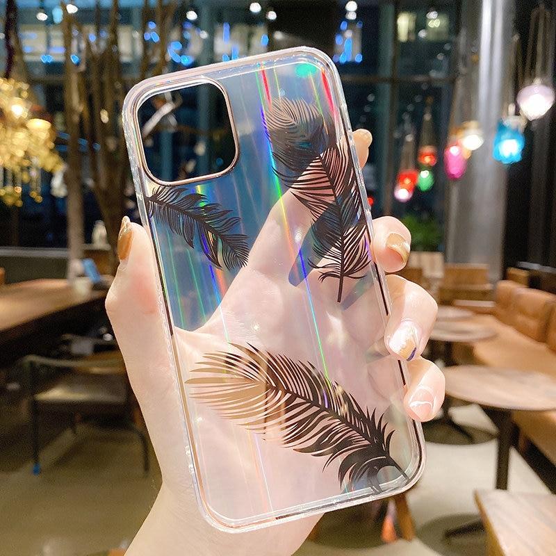 Funda de teléfono con pluma láser gradiente para iPhone, carcasa trasera transparente a prueba de golpes para iPhone 11 12 Pro Max 12Mini XR XS Max X 7 8 Plus 5