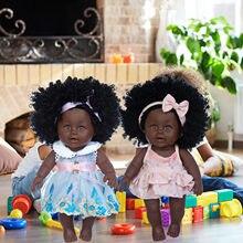 Cubierta negra negro africano para bebé, falda de encaje con pelo rizado, juguete de vinilo para bebé, julios, regalos de Navidad para niña, muñecas para bebé