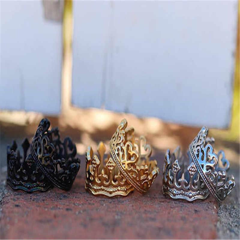 แฟชั่น Vintage Vintage แหวนเงินทองสีดำผู้หญิงแหวนคู่หมั้นแหวนแหวน Lover สำหรับชาย gif