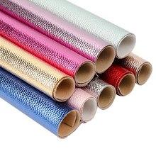 Jojo arcos 22*30cm 1pc folhas de couro do falso litchi padrão tecido de couro sintético por jardas para artesanato diy arcos de cabelo saco suprimentos