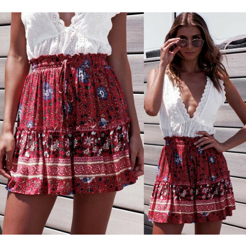 2020 Summer Womens New Boho Floral Printed Mini Pleated Skirts Lady Female Casual Beach Party Short Mini Dress