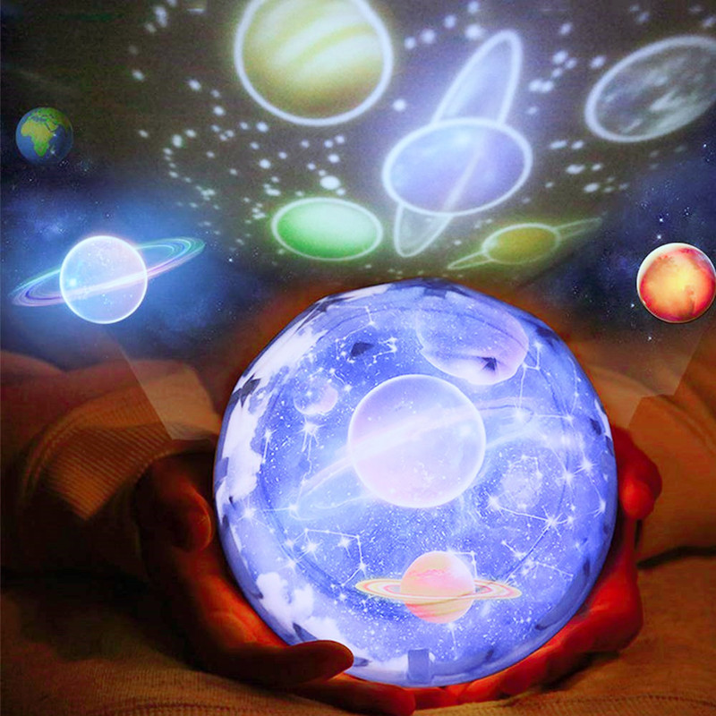 Night Light Starry Sky Planet Magic Home Planetarium Galaxy Projector Universe LED Colorful Rotate Flashing Star Kids Lamp Gift