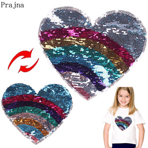 Prajna Sequin Reversible Patches Unicorn Heart Patch Sew On Embroidered Patches For Clothes Stripes Stickers Kids DIY Applique