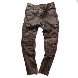 Cuoio Genuino Della Mucca Moto Rider Pantaloni Vintage Moda Pelle Bovina in Pelle Pantaloni 4 Colori