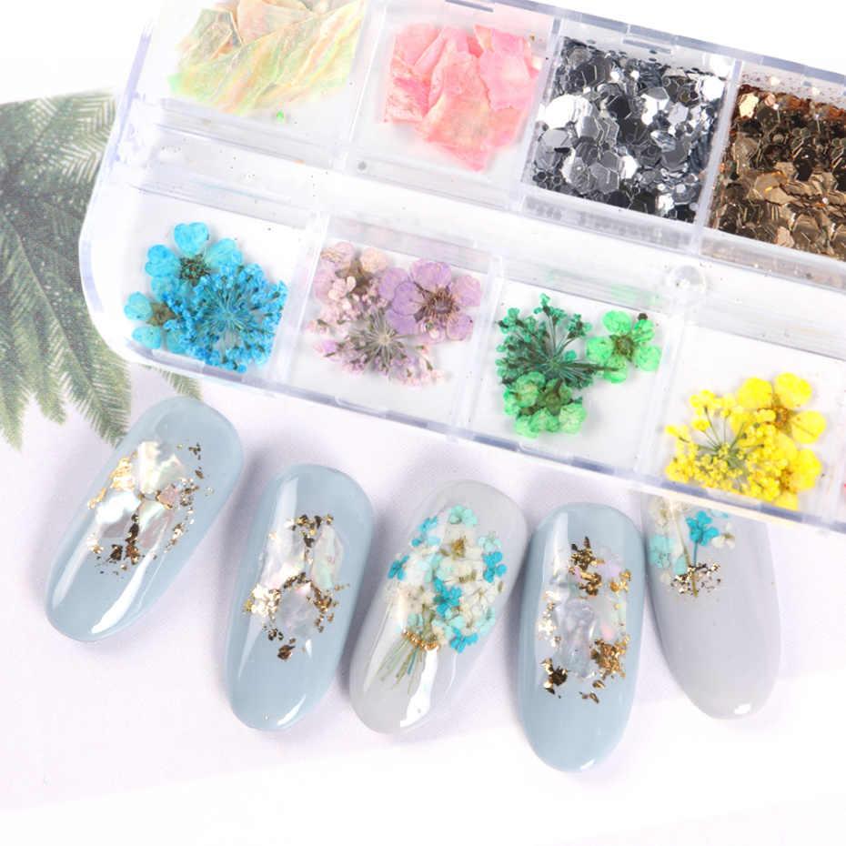 말린 된 꽃 네일 라인 석 세트 혼합 된 나비 호 일 셸 Paillette 3D 네일 아트 장식 구슬 매니큐어 액세서리 LA1616-1