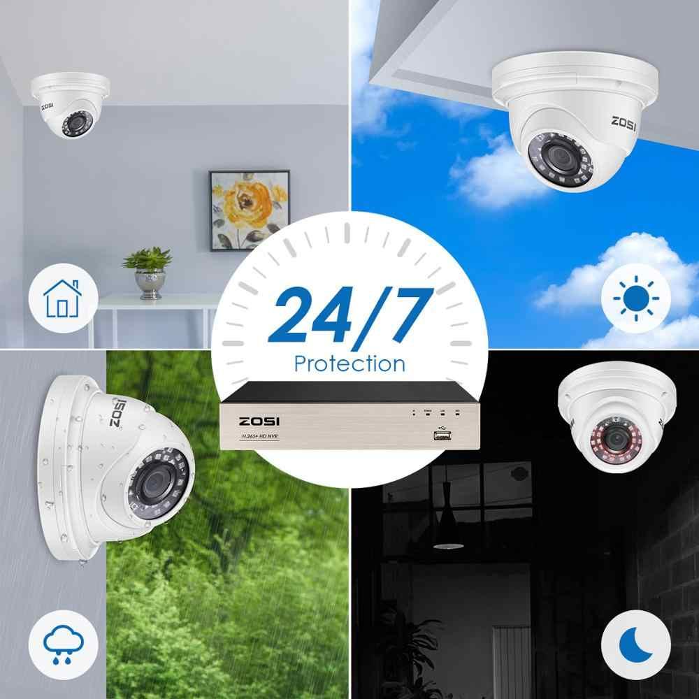 ZOSI H.265 + 8CH 5MP POE NVR ชุดกล้องวงจรปิดความปลอดภัยภายในบ้าน 8pcs 5MP กันน้ำโดมกล้อง IP Home การเฝ้าระวังวิดีโอชุด