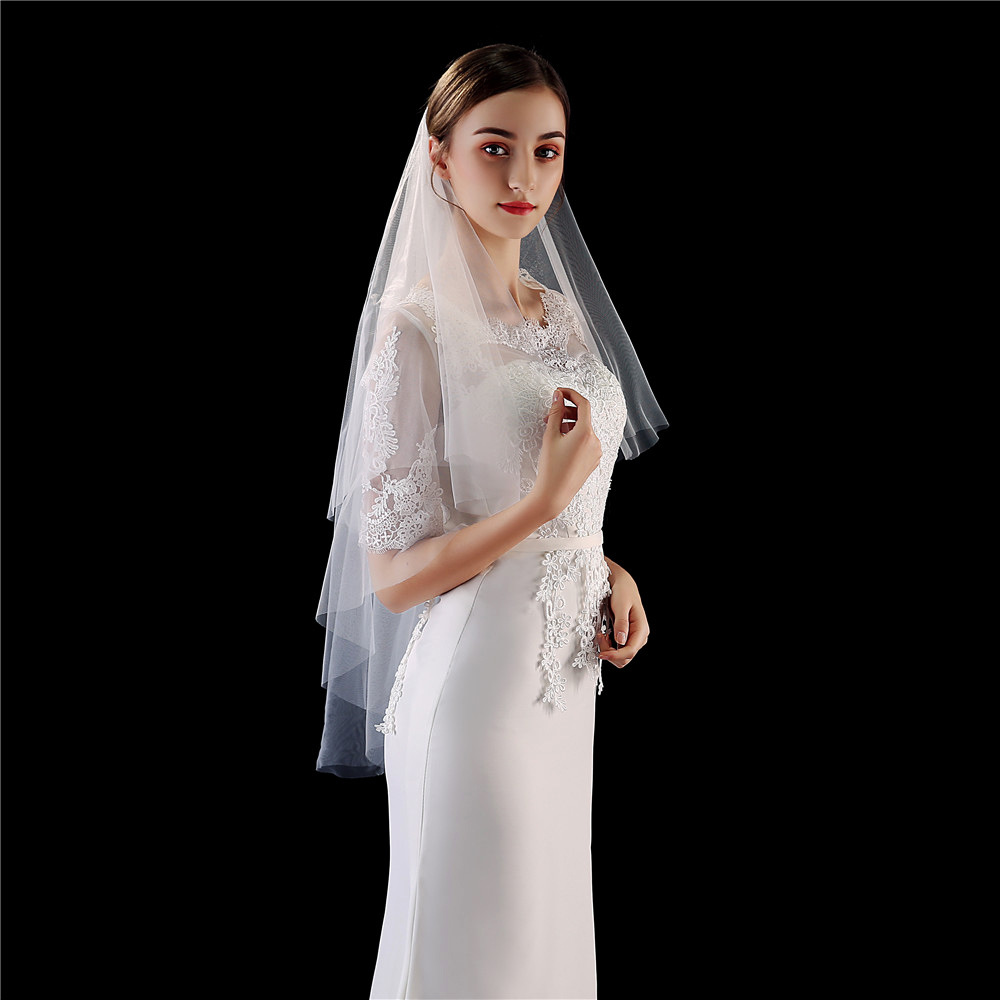New White Ivory Double-layer Bridal Veils with Metal Comb Fashion Women's Fingertip Veil Wedding Accessories