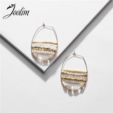 Joolim Gorgeous Stackable Natural Stone Bead Hoop Earrings for Women