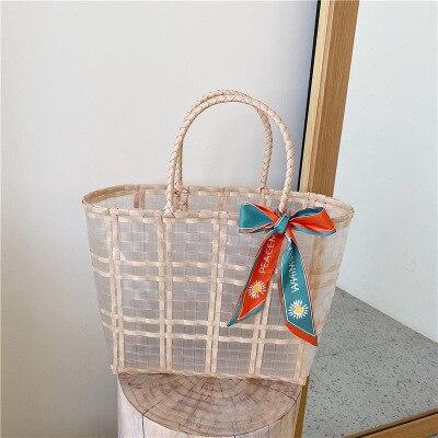 Hand-Woven Transparent Wooden Round Handle Environmentally Plastic Woven Bag Vegetable Basket Beach Handbag Bamboo Clutch