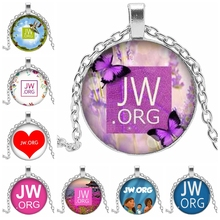 Hot 2019JW.ORG Retro Glass Bevel Pendant Necklace Alloy Punk Birthday Gift Fashion Jewelry Accessories