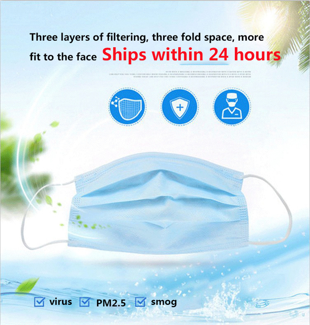 50 pieces wholesale disposable 3 layer protective mask windproof dustproof mask antibacterial anti flu mask care 4