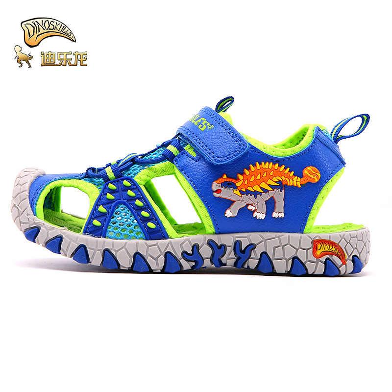 DINOSKULLS זוהר סנדלי עבור בני דינוזאור LED סגור הבוהן ילדים של קיץ סנדלי אור עד אופנה 5 ילדים מזדמן החוף נעליים
