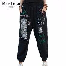 Ripped Jeans Harem-Pants Max-Lulu Denim Trousers Sequins Printed Loose Vintage Plus-Size