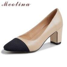 цена Meotina Genuine Leather High Heel Pumps Women Shoes Pointed Toe Thick Heels Ladies Footwear Autumn Black Apricot Big Size 40 онлайн в 2017 году