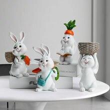 Пасхальные полимерные украшения для дома, милые фигурки кроликов, животных, миниатюрные настольные украшения, статуэтка, сказочный сад, Ден...