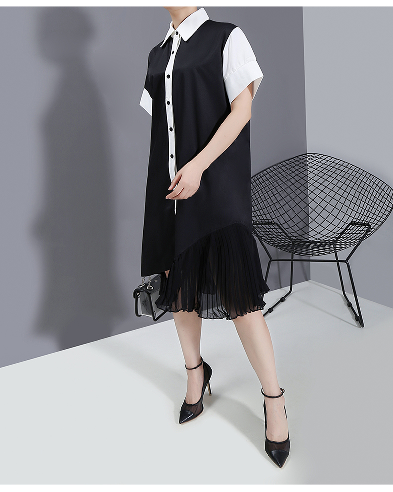 New Fashion Style Patchwork Shirt Dress Chiffon Ladies Elegant Style