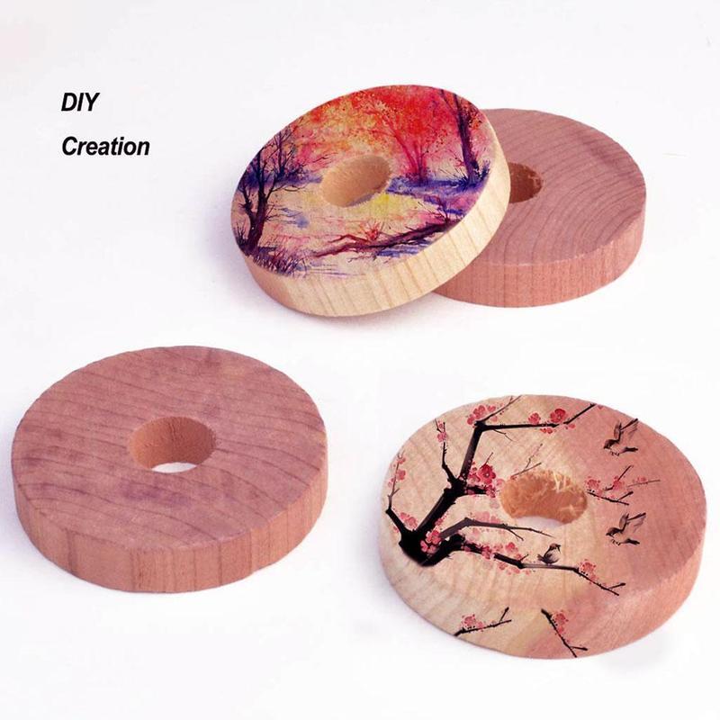 2pcs Deodorant Wood Chips Cedar Wood Ring Wood Piece Wardrobe Moisture-proof Insect-proof Deodorant Wardrobe Natural Wood