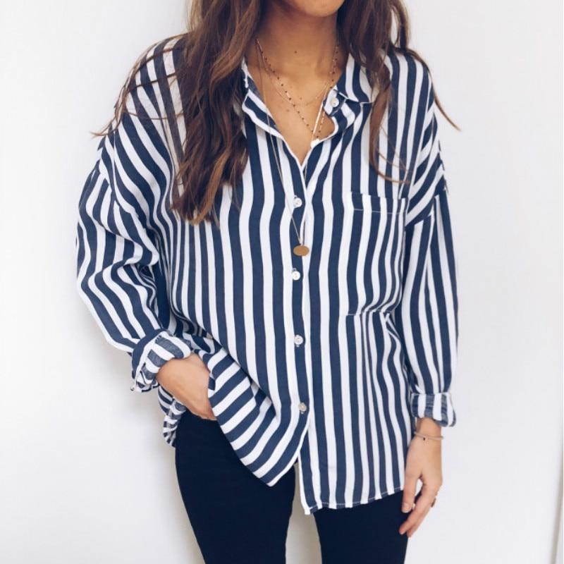 Women V Neck Casual Stripe Loose Shirt Tops Lantern Sleeve Oversize Blouse Plus