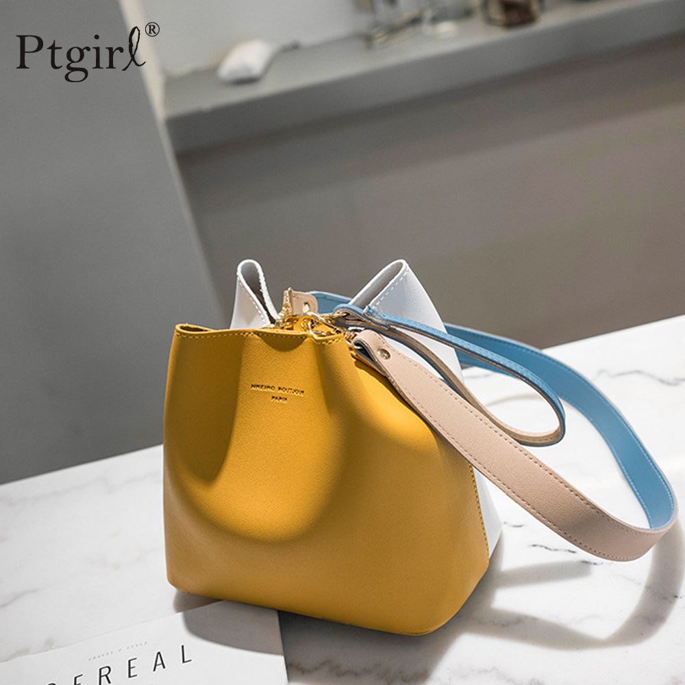 2019 New PU Leather Handbags Women Bucket Designer Shoulder Bags Ptgirl luxury handbags women bags designer High Quality