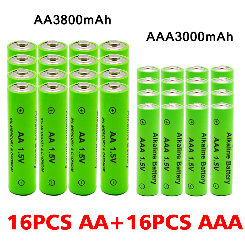 AA + AAA Rechargeable AA 1.5V 3800mAh / 1.5V AAA 3000mah Alkaline Battery Flashlight Toys Watch MP3 Player Replace Ni-Mh Battery 4