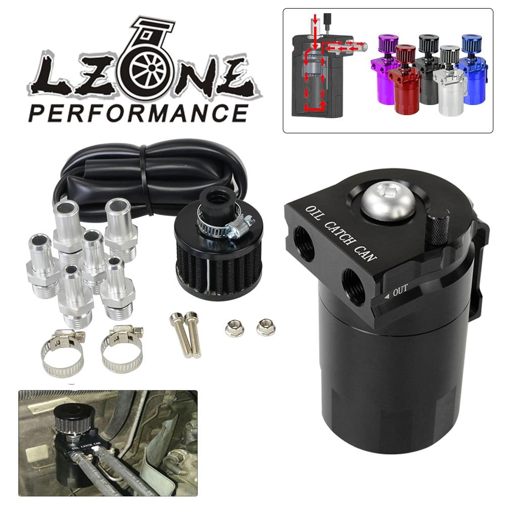 LZONE - Baffled Aluminum Oil Catch Can Reservoir Tank / Oil Tank With Filter Universal JR-TK64