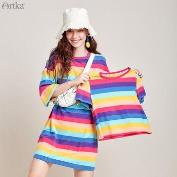 ARTKA 2020 Spring Summer New Women T-shirt Fashion Stripe Rainbow Loose Casual Straight O-Neck Dress TA25003X