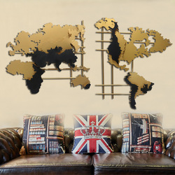 The northern European style is simple, the modern light extravagant iron art metal gold world map, the living room