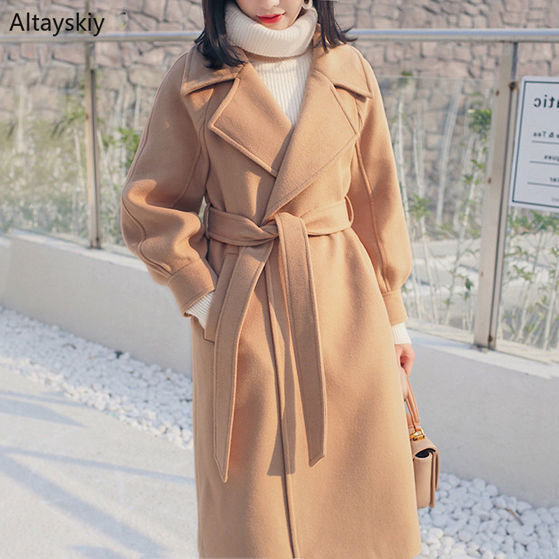 Wool Women Turn-down Collar Pockets Leisure Simple All-match Korean Style Elegant Ladies Blends Womens Soft Kawaii Long Coats