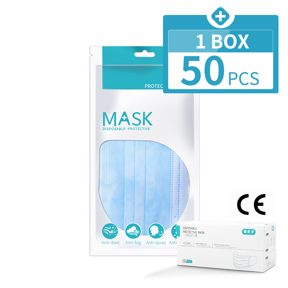 50 Pcs Face Mask 3 Ply Anti Pollution Dust Flu Filter Disposable Mouth Masks Protective Respirator FPP2 Maska Antywirusowa PM2.5