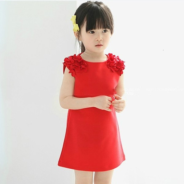 Hf5d71d5a26394bae85437f8045edf651q Kids Dresses Girls 2017 New Fashion Sweater Cotton Flower Shirt Short Summer T-shirt Vest Big For Maotou Beach Party Dress