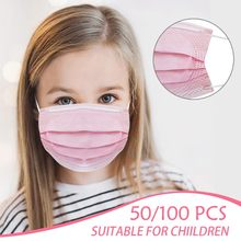 Mascarillas faciales desechables para niños antipolvo, color rosa, anticontaminación, Pm2.5, 50 Uds., 100 Uds.